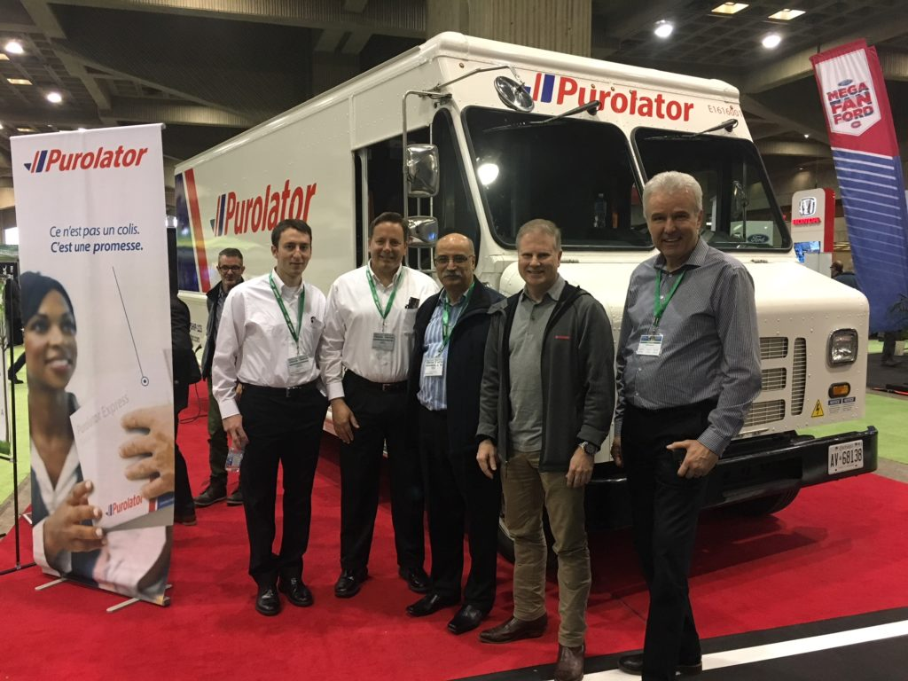 Purolator e-truck unveiling at 2018 SVEM Montreal April 21 2018
